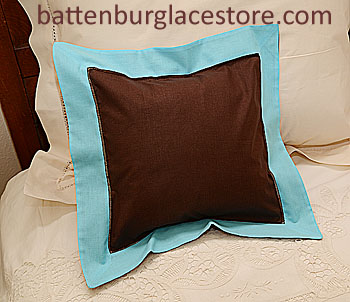 "Pillow sham.12""x12"" Square. Brown with AQUA Blue color border"